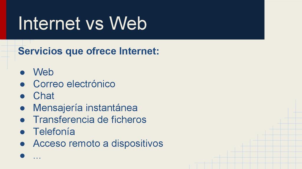 Internet vs Web Servicios que ofrece Internet: ...