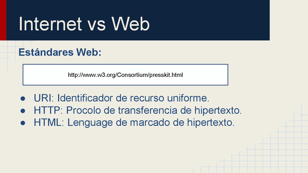 Internet vs Web Estándares Web: ● URI: Identifi...