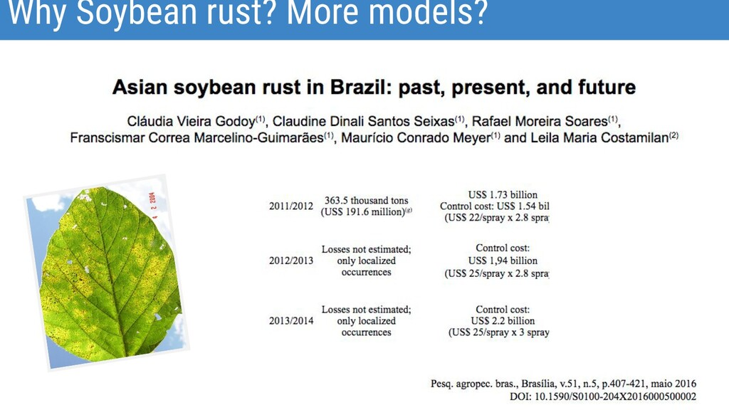Why Soybean rust? More models?