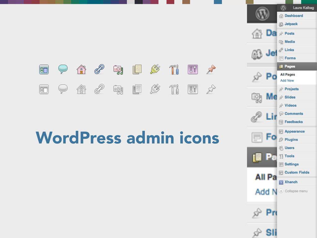 WordPress admin icons