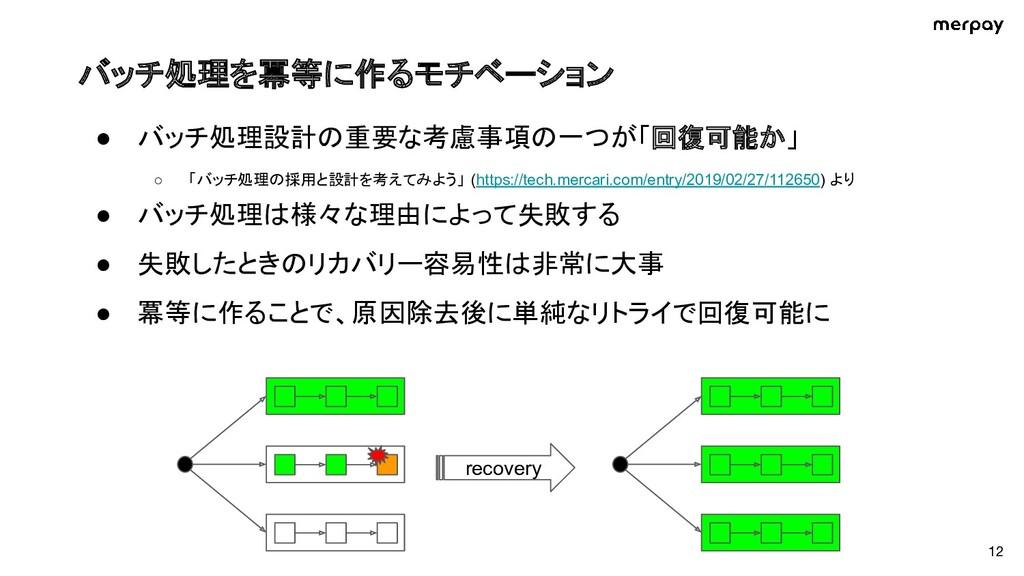 バッチ処理を冪等に作るモチベーション ● バッチ処理設計の重要な考慮事項の一つが「回復可能か...