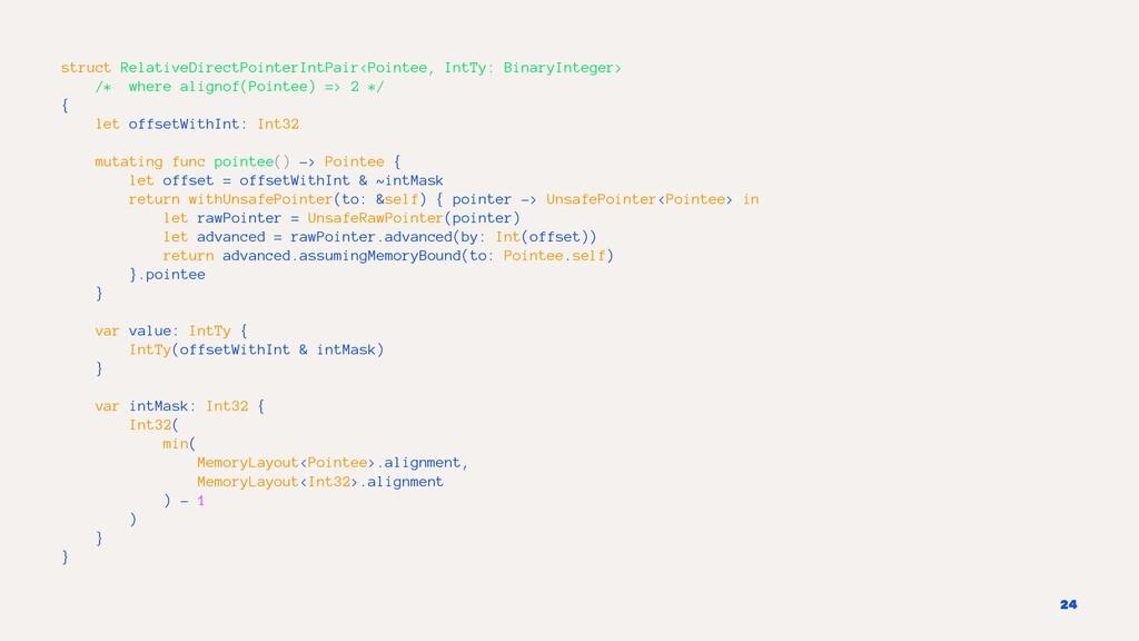 struct RelativeDirectPointerIntPair<Pointee, In...