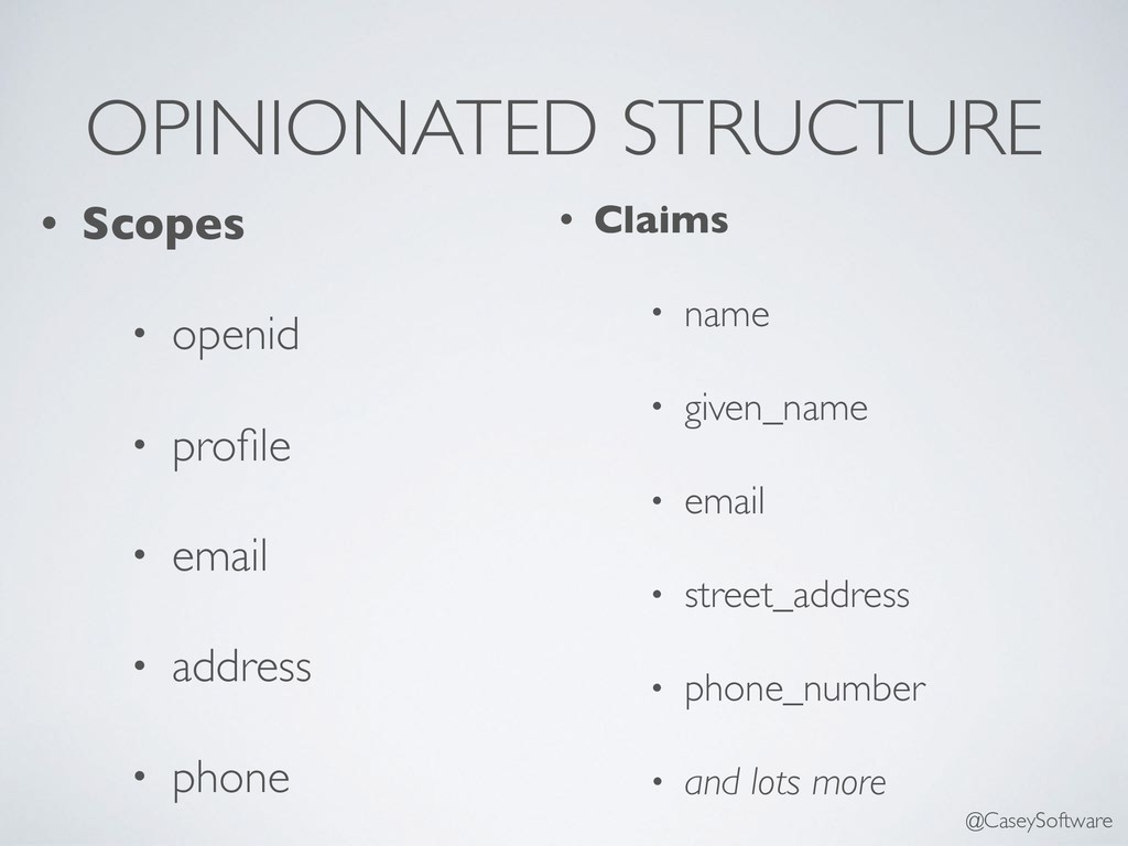 OPINIONATED STRUCTURE • Scopes • openid • profil...