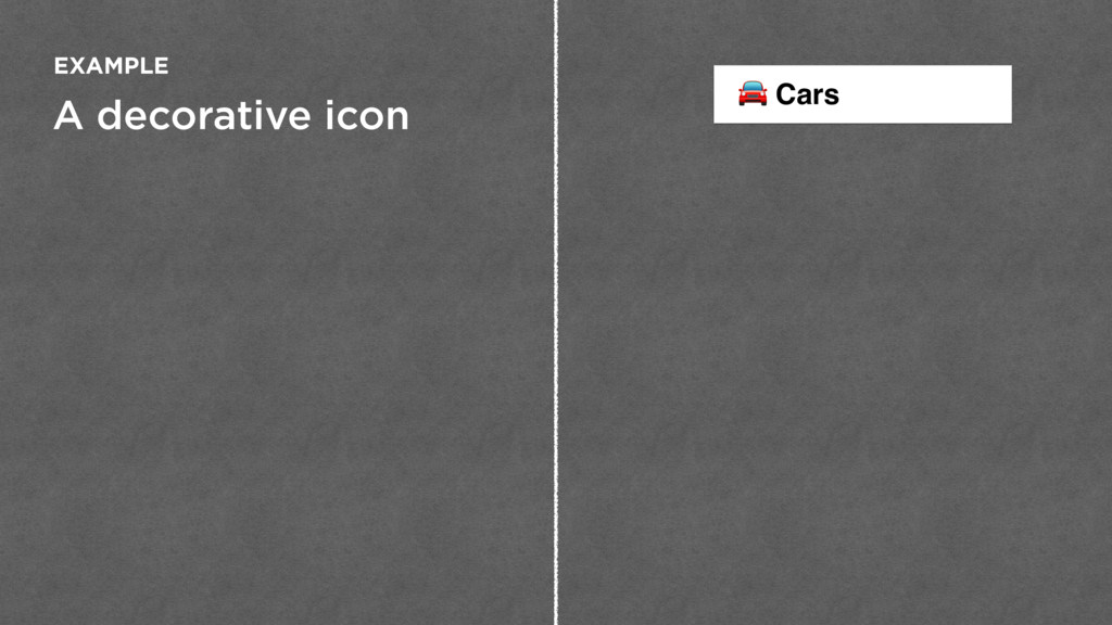 A decorative icon EXAMPLE  Cars