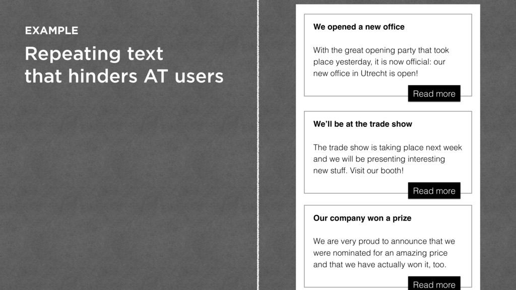 Repeating text that hinders AT users EXAMPLE Ou...