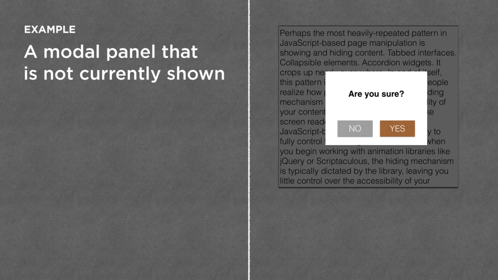 A modal panel that is not currently shown EXAMP...