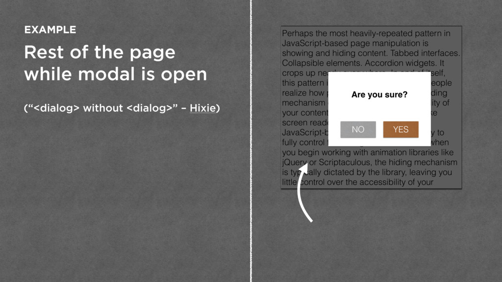 """Rest of the page while modal is open (""""<dialog>..."""