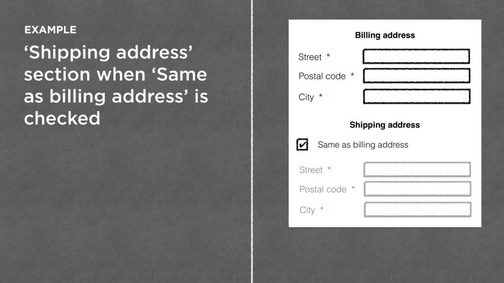 'Shipping address' section when 'Same as billin...