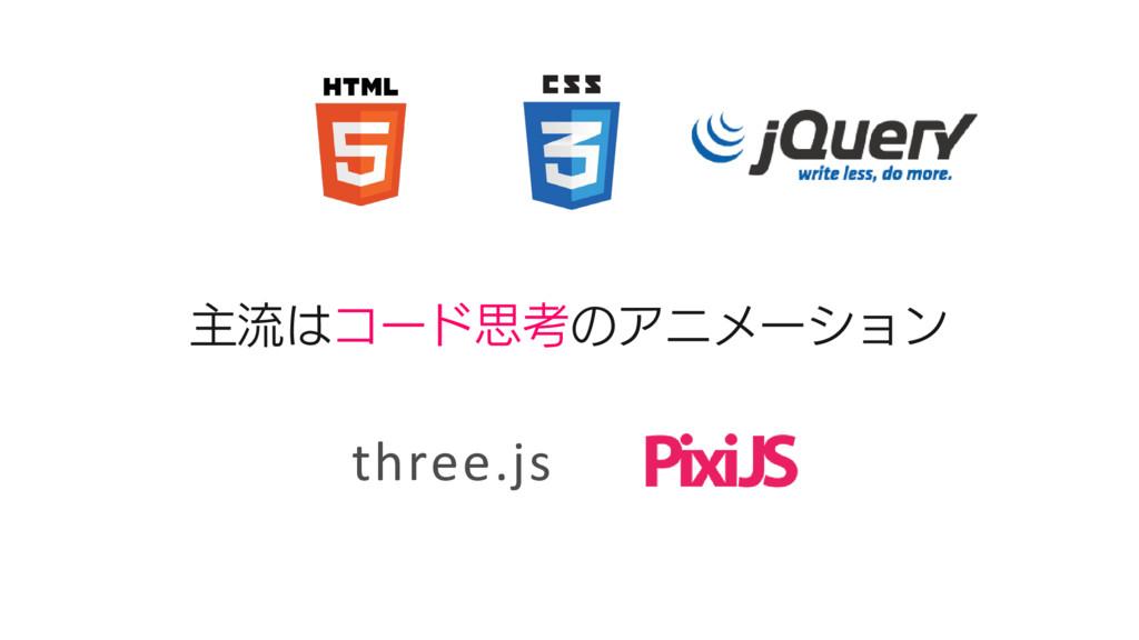主流はコード思考のアニメーション three.js