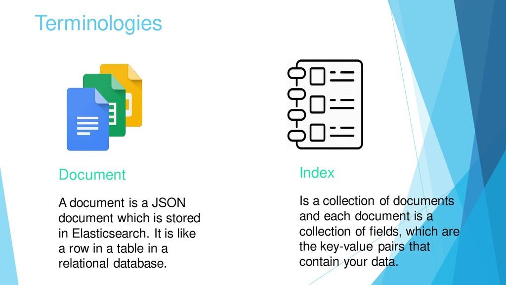 Terminologies Document A document is a JSON doc...