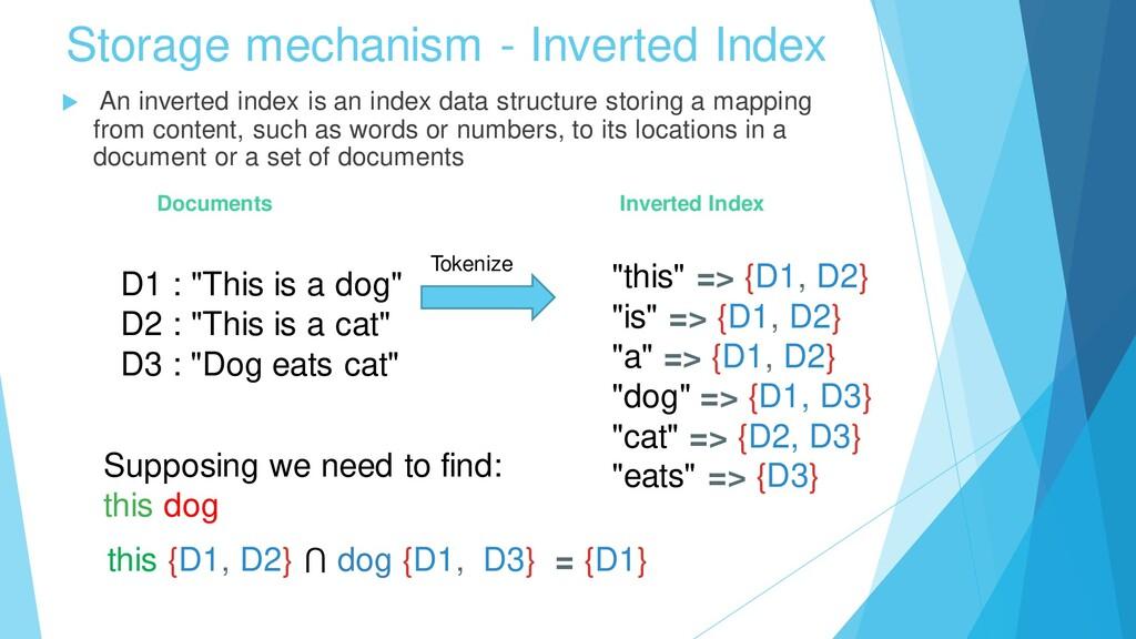 Storage mechanism - Inverted Index  An inverte...