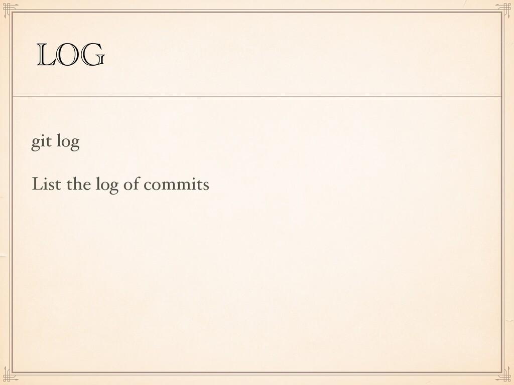 LOG git log List the log of commits