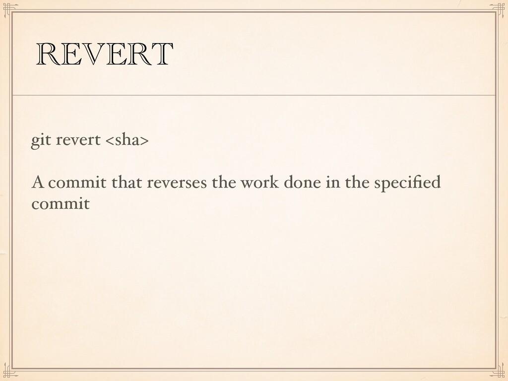 REVERT git revert <sha> A commit that reverses ...