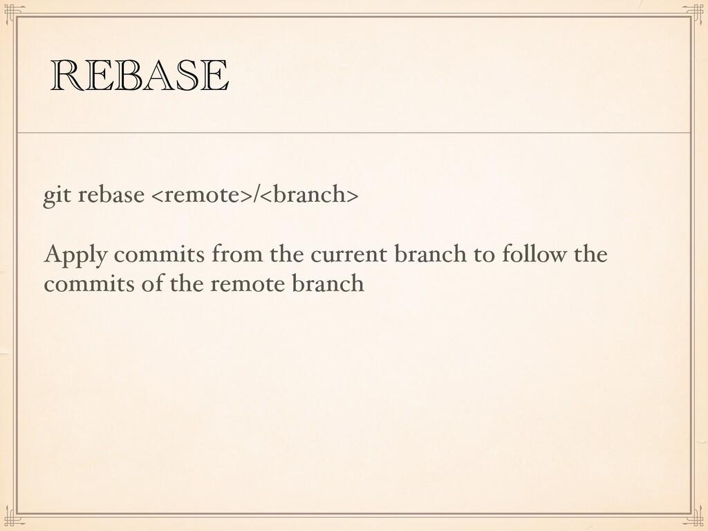 REBASE git rebase <remote>/<branch> Apply commi...