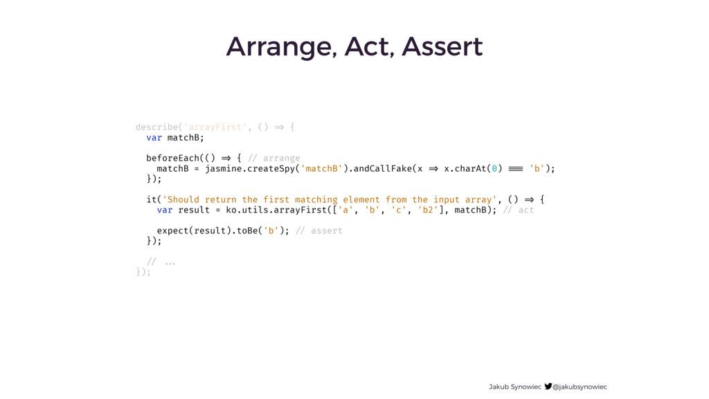 Arrange, Act, Assert Jakub Synowiec @jakubsynow...
