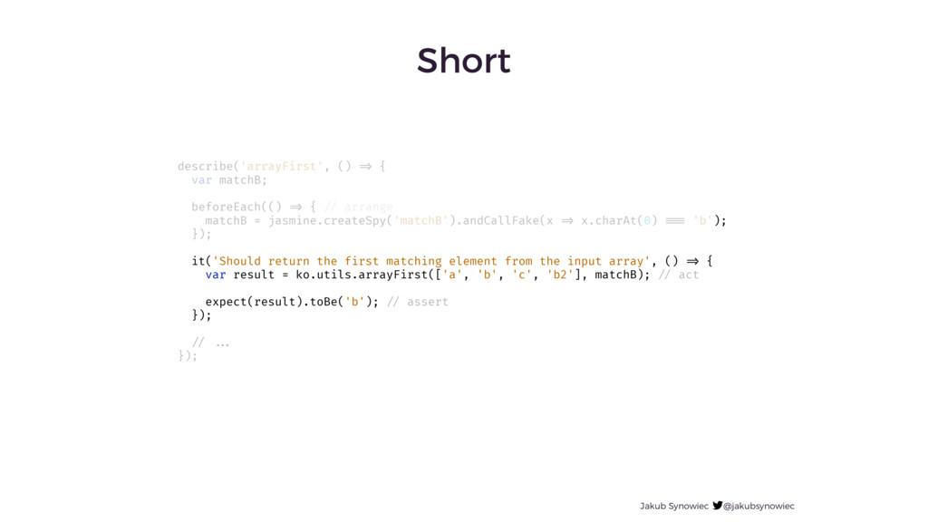 Short Jakub Synowiec @jakubsynowiec describe('a...