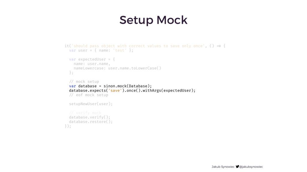 Jakub Synowiec @jakubsynowiec Setup Mock it('sh...