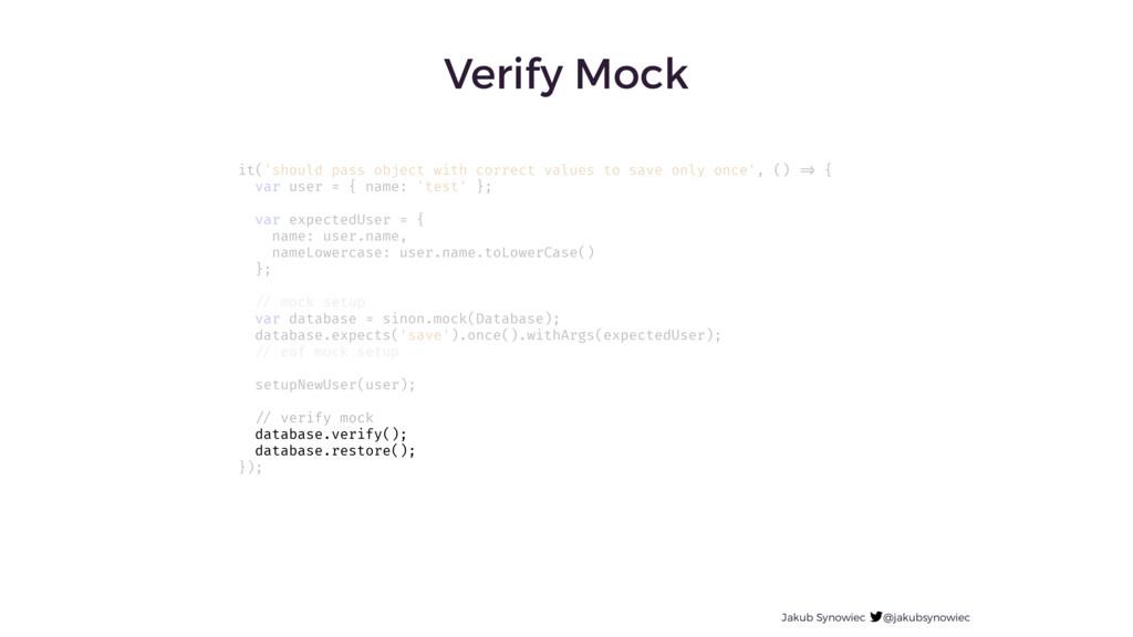 Jakub Synowiec @jakubsynowiec Verify Mock it('s...