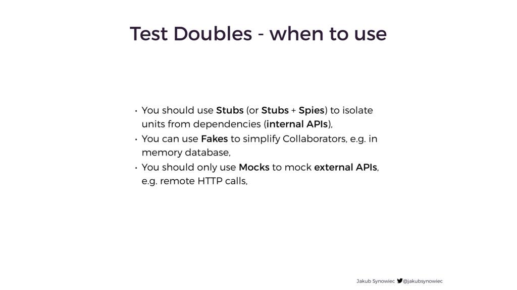 Jakub Synowiec @jakubsynowiec Test Doubles - wh...
