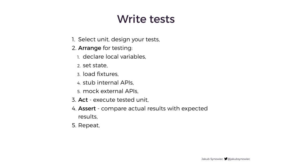 Write tests Jakub Synowiec @jakubsynowiec 1. Se...