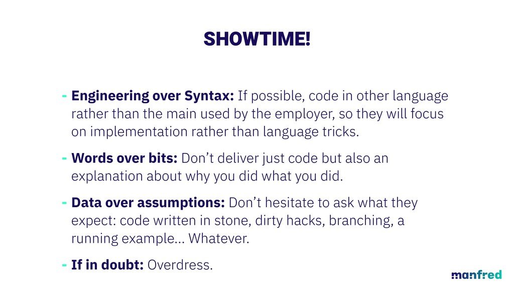 SHOWTIME! - Engineering over Syntax: If possibl...