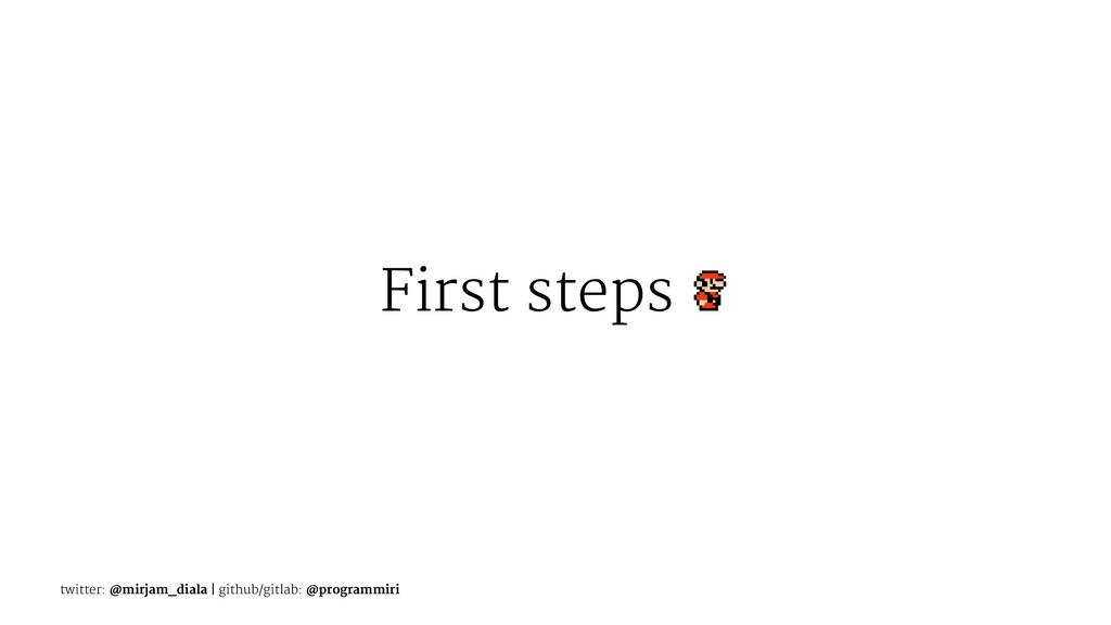 First steps twitter: @mirjam_diala | github/git...