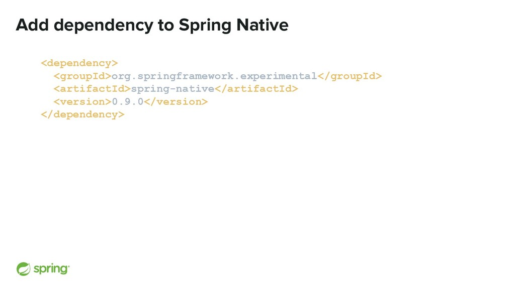Add dependency to Spring Native <dependency> <g...