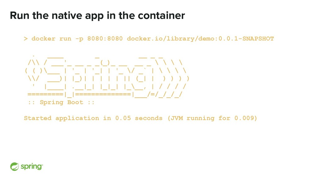 Run the native app in the container > docker ru...
