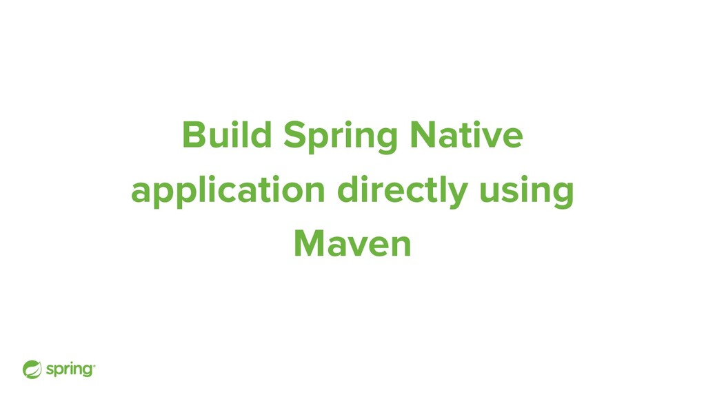 Build Spring Native application directly using ...