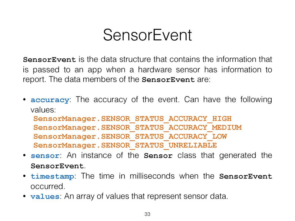 SensorEvent SensorEvent is the data structure t...