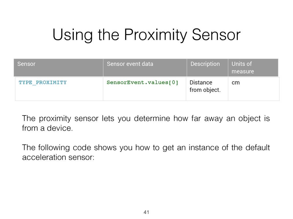 41 TYPE_PROXIMITY SensorEvent.values[0] Distanc...