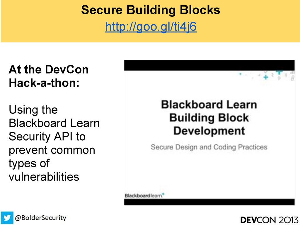 Secure Building Blocks http://goo.gl/ti4j6 At t...