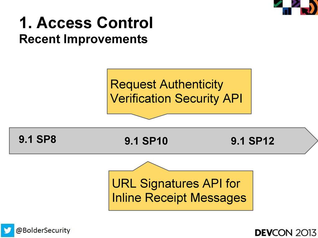 1. Access Control Recent Improvements 9.1 SP8 9...
