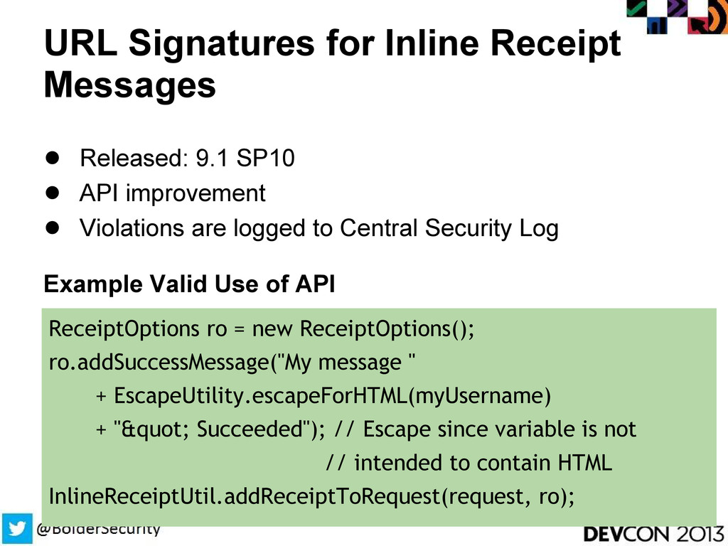 URL Signatures for Inline Receipt Messages ● Re...