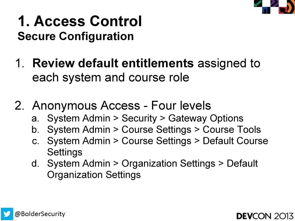 1. Access Control Secure Configuration 1. Revie...