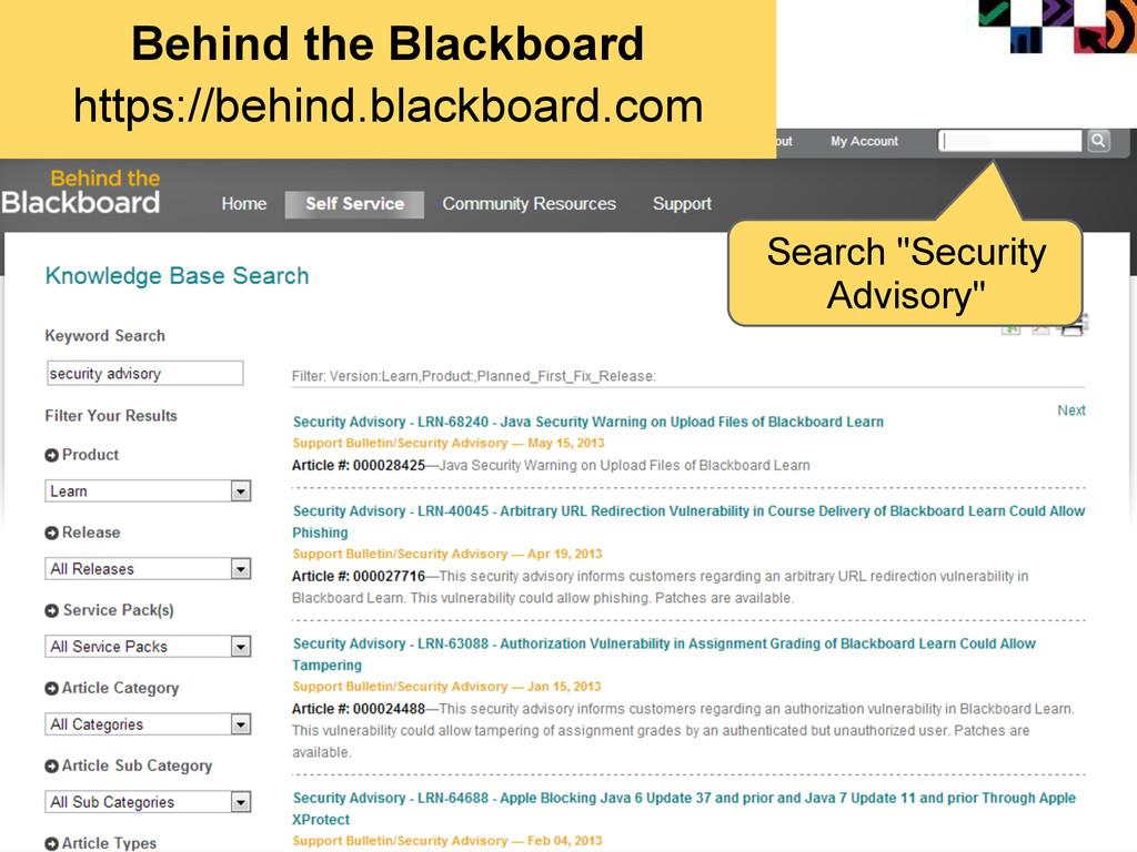 Behind the Blackboard https://behind.blackboard...
