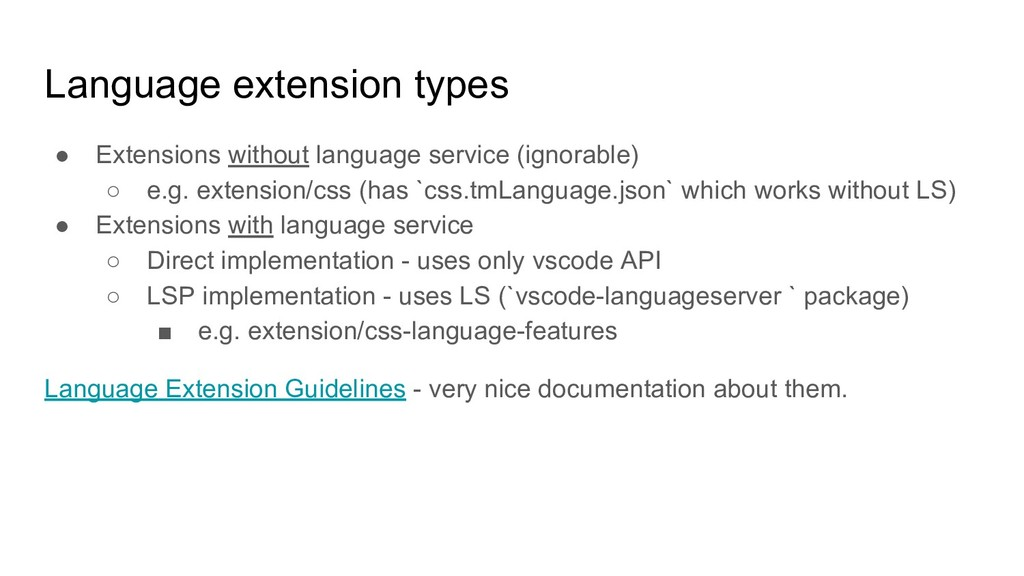 Language extension types ● Extensions without l...