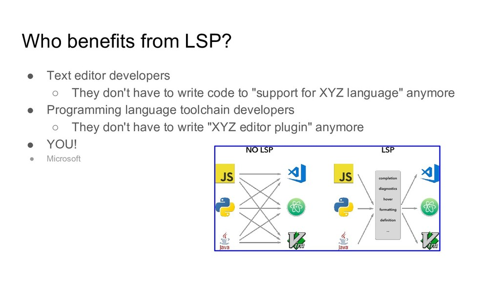 Who benefits from LSP? ● Text editor developers...