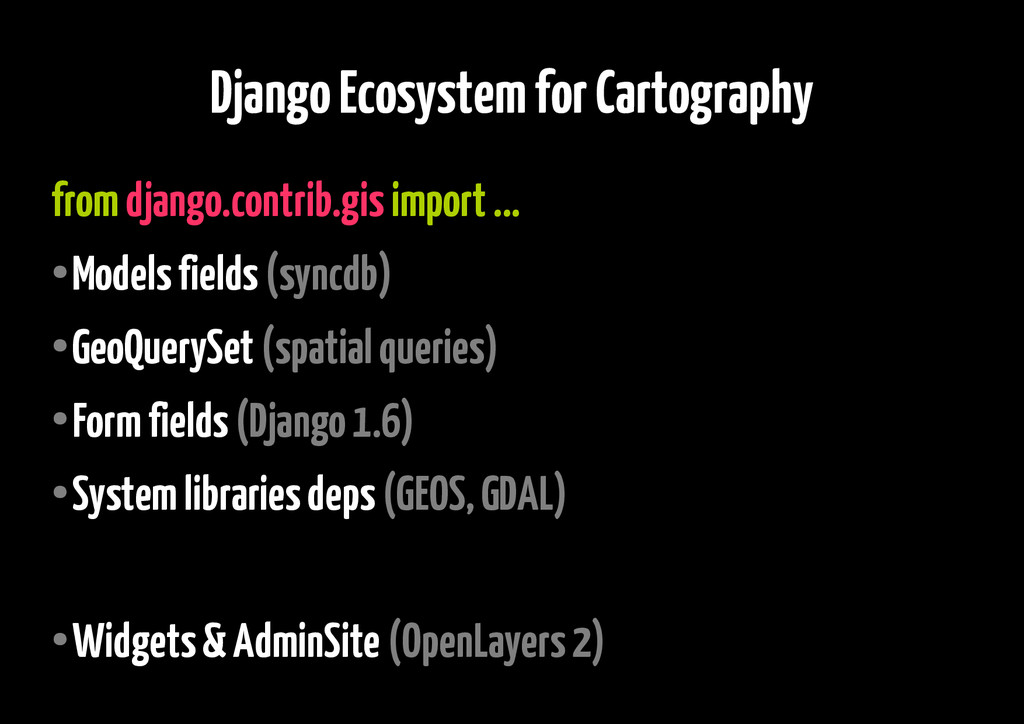 Django Ecosystem for Cartography from django.co...