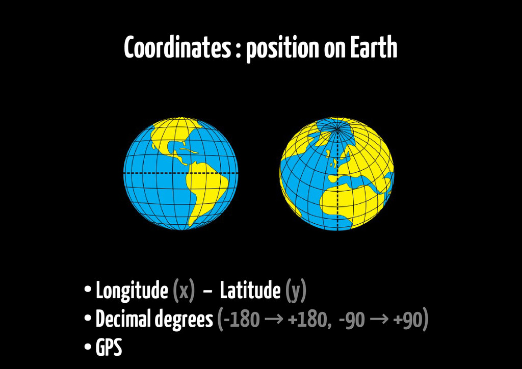 Coordinates : position on Earth ● Longitude (x)...