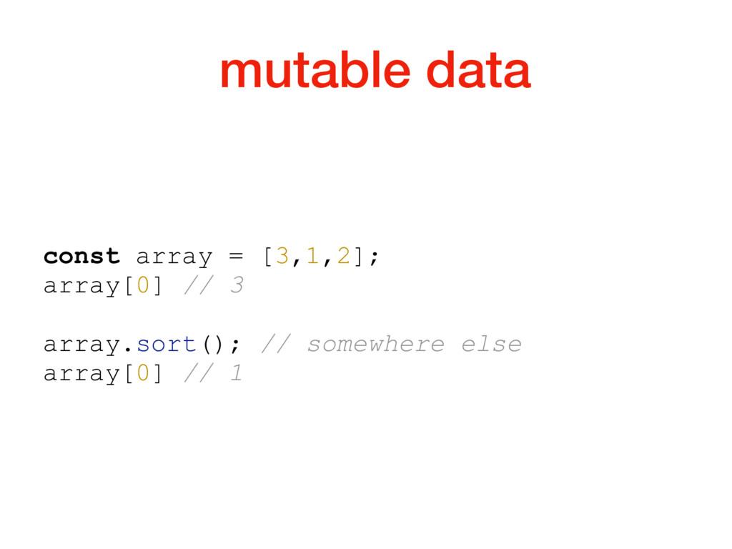 mutable data const array = [3,1,2]; array[0] //...
