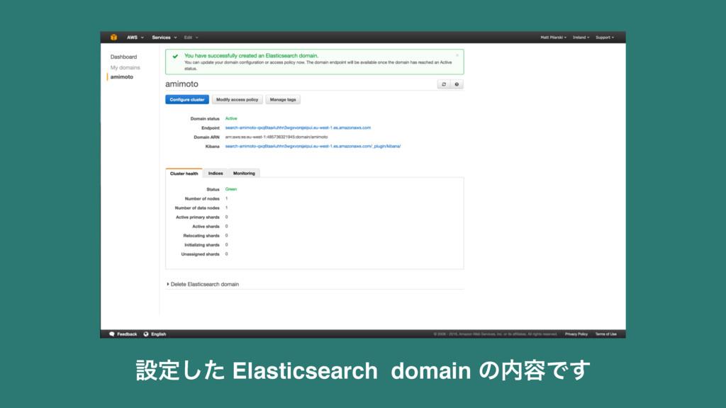 ઃఆͨ͠ Elasticsearch domain ͷ༰Ͱ͢