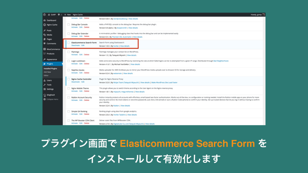 ϓϥάΠϯը໘Ͱ Elasticommerce Search Form Λ