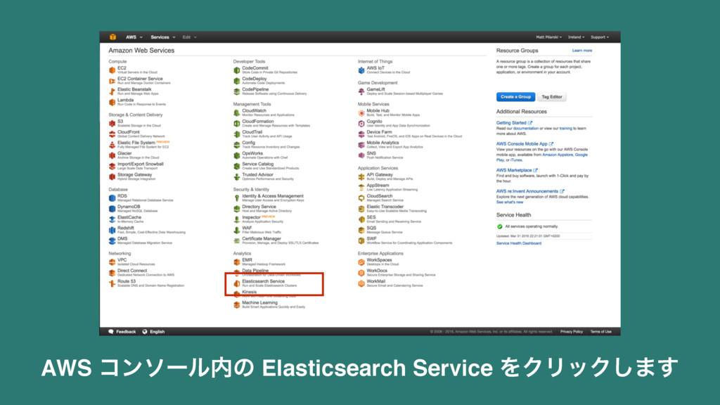 AWS ίϯιʔϧͷ Elasticsearch Service ΛΫϦοΫ͠·͢