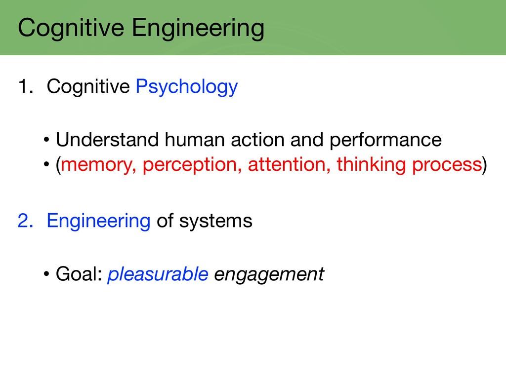 Cognitive Engineering 1. Cognitive Psychology •...
