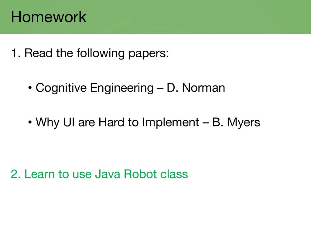 Homework 1. Read the following papers: • Cognit...