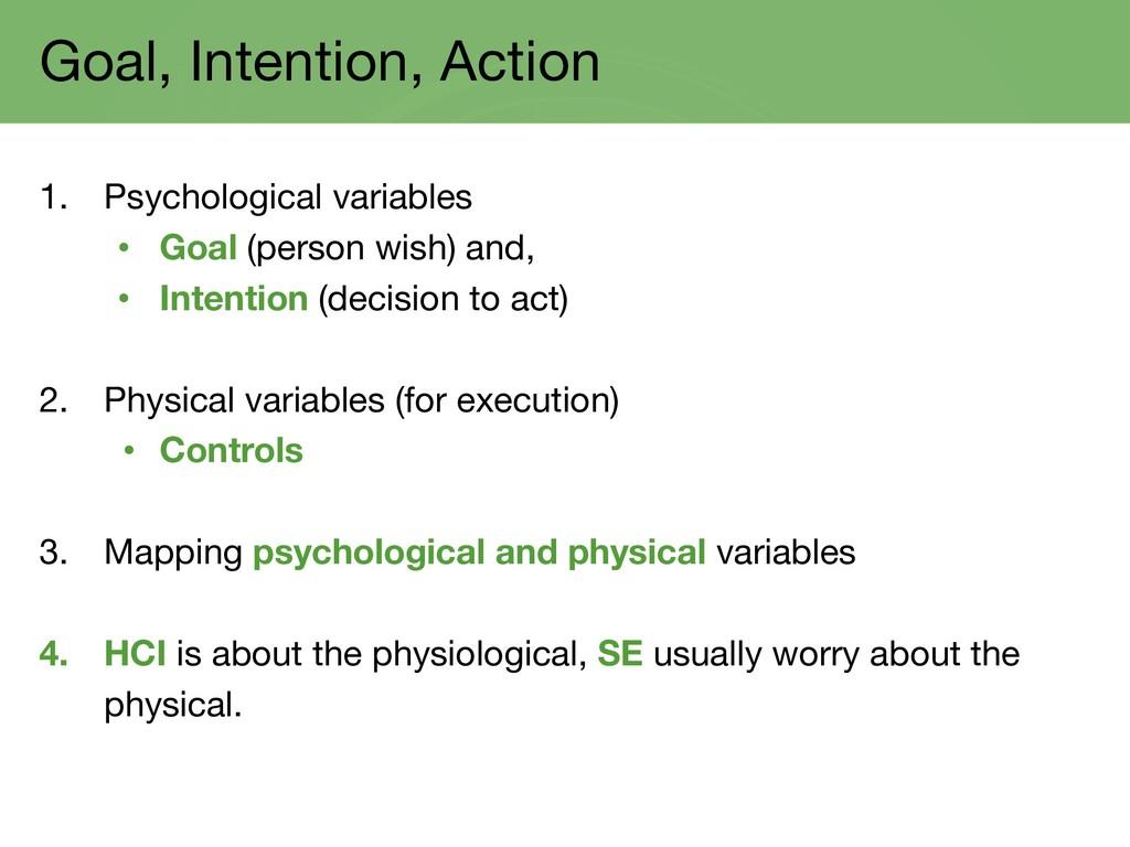 Goal, Intention, Action 1. Psychological variab...