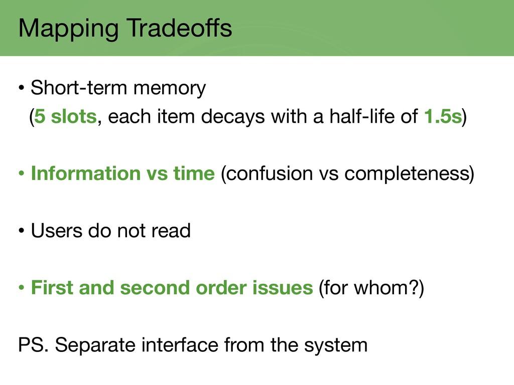Mapping Tradeoffs • Short-term memory (5 slots,...