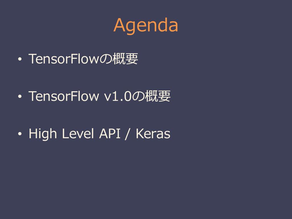 Agenda • TensorFlowの概要 • TensorFlow v1.0の概要 • H...