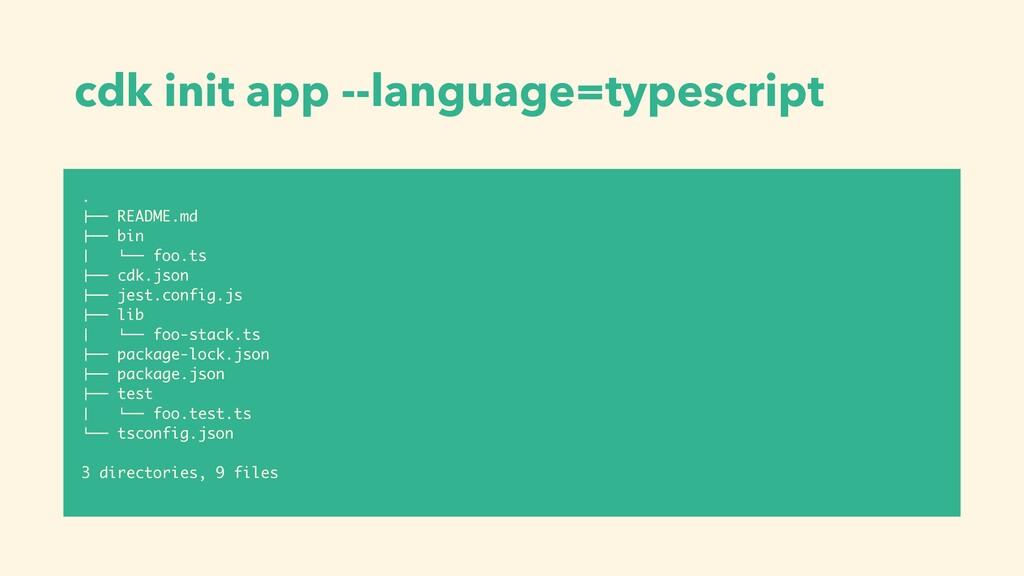 "cdk init app --language=typescript . !"""" README..."